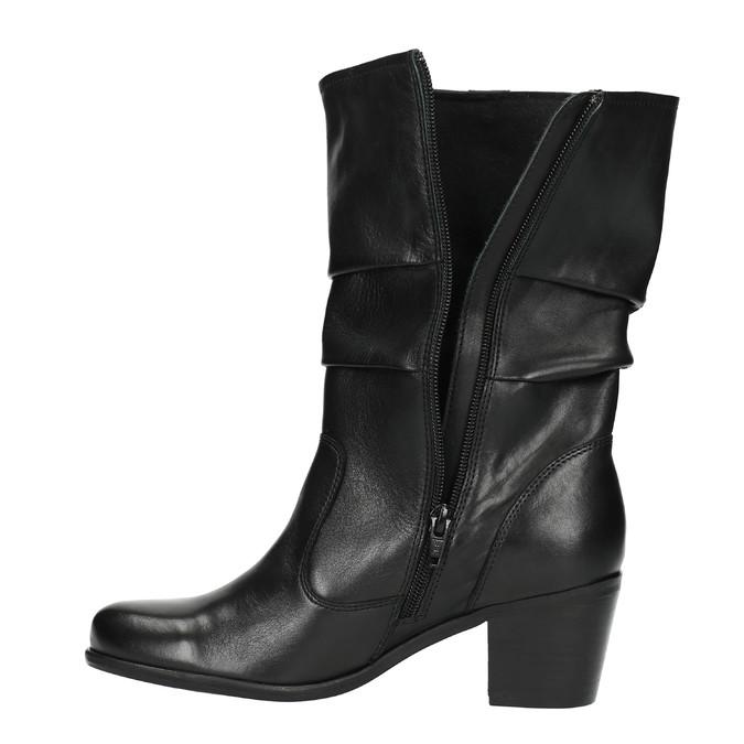 Čierne kožené čižmy bata, čierna, 694-6601 - 26