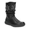 Dievčenské čižmy s kvetinami mini-b, čierna, 291-6602 - 13