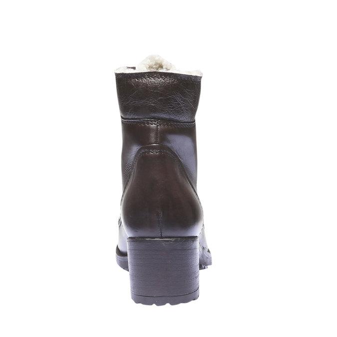 Kožené šnurovacie topánky so zateplením bata, hnedá, 694-4100 - 17