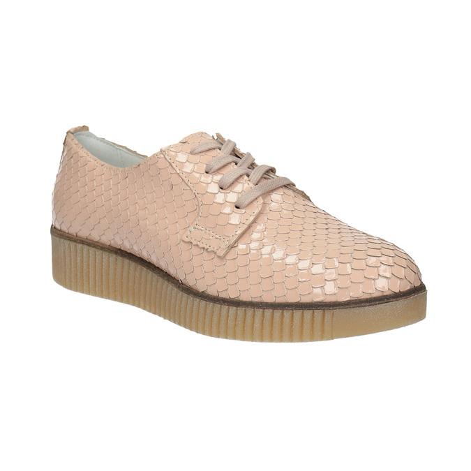 Dámske kožené poltopánky bata, ružová, 526-5613 - 13
