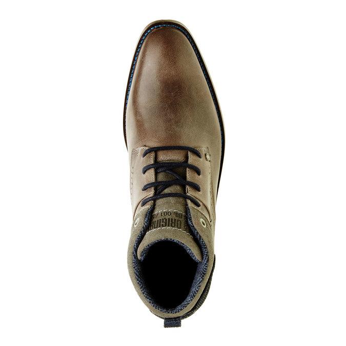 Ležerne kožené poltopánky nad členky bata, šedá, 894-2622 - 19