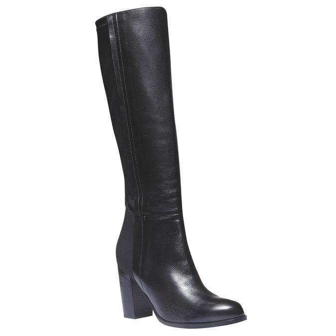Kožené čižmy na podpätku bata, čierna, 794-6604 - 13