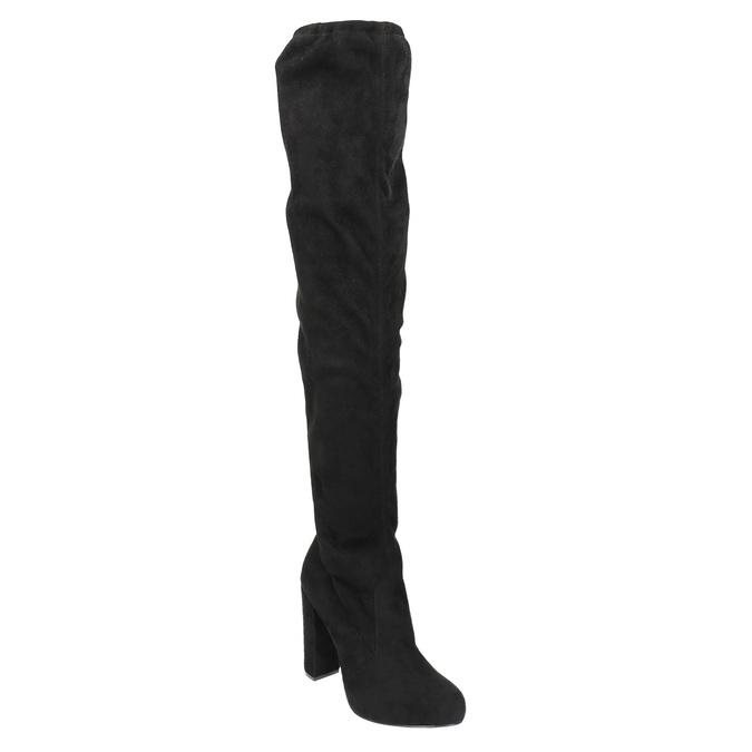 Čižmy nad kolená na podpätku bata, čierna, 799-6605 - 13