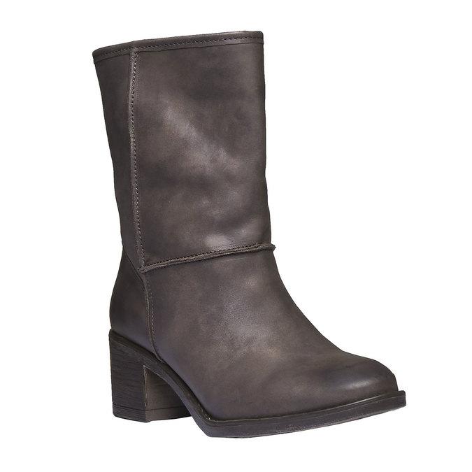 Kožené čižmy s kožúškom bata, čierna, 696-6109 - 13