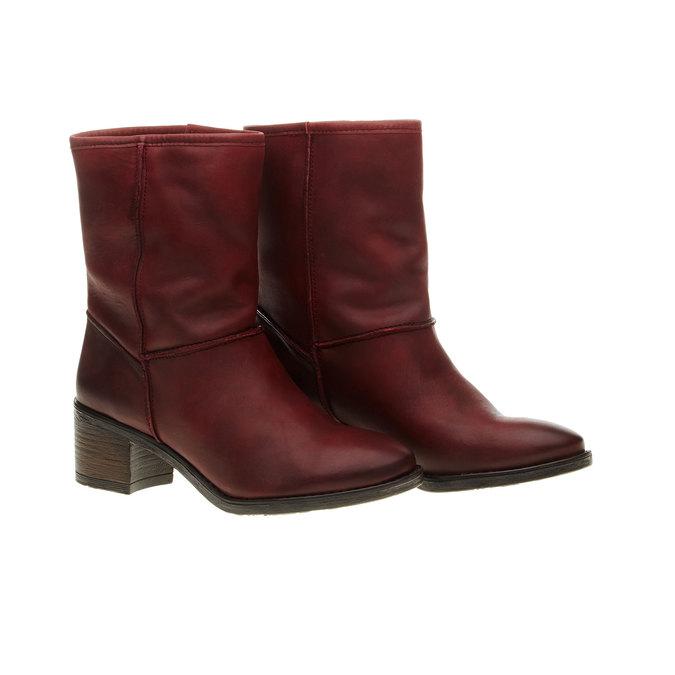 Kožená členková obuv bata, červená, 696-5109 - 26