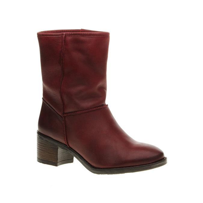Kožená členková obuv bata, červená, 696-5109 - 13