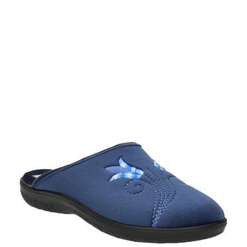 Dámska domáca obuv s výšivkou bata, modrá, 579-9603 - 13