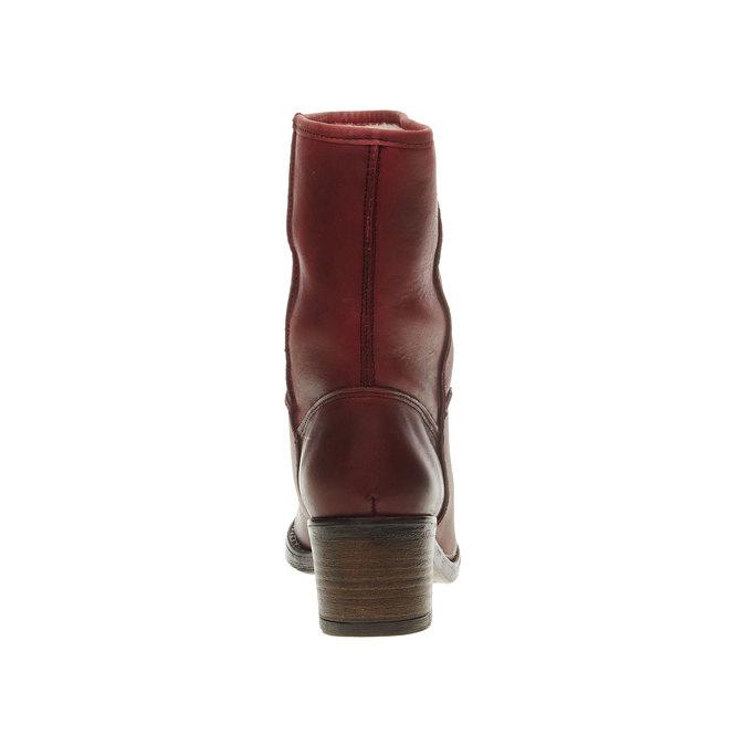 Kožená členková obuv bata, červená, 696-5109 - 17