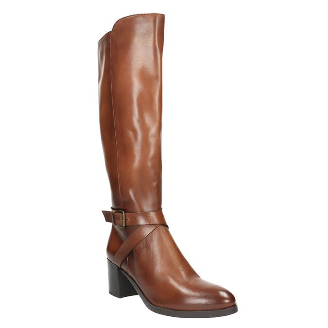 Kožené čižmy na stabilnom podpätku bata, hnedá, 696-4615 - 13