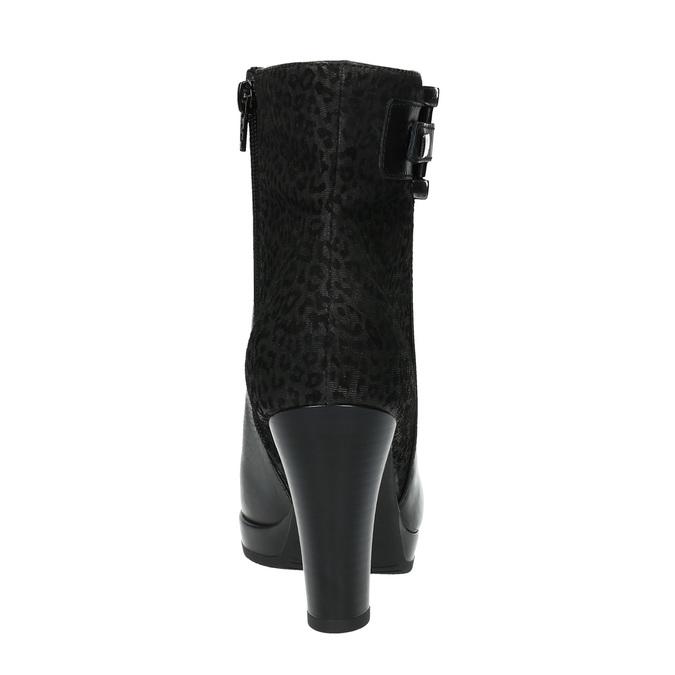 Členková obuv s leopardím vzorom bata, čierna, 796-6610 - 17