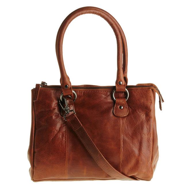 Kožená kabelka s odnímatelným popruhom bata, hnedá, 964-3123 - 26