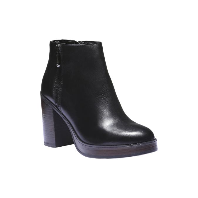 Kožená členková obuv na podpätku bata, čierna, 794-6584 - 13