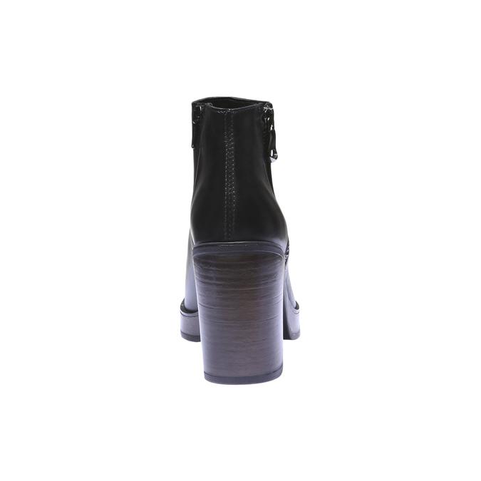 Kožená členková obuv na podpätku bata, čierna, 794-6584 - 17