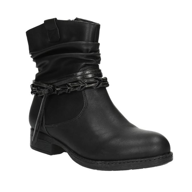 Čierne členkové čižmy bata, čierna, 591-6610 - 13