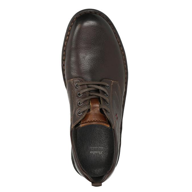 Ležérne kožené poltopánky na výraznej podrážke bata, hnedá, 824-4698 - 26