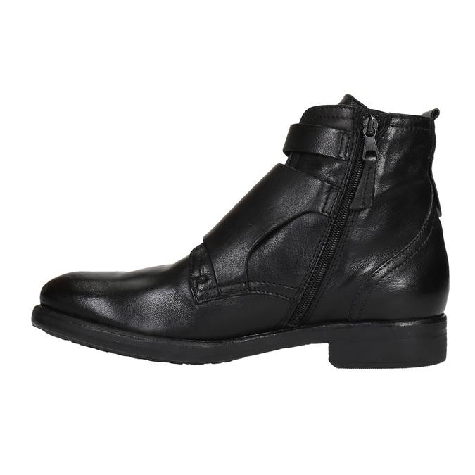 Kožená obuv s prackami bata, čierna, 894-6683 - 26