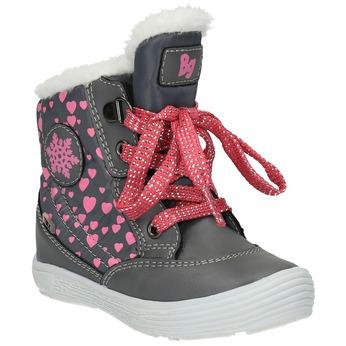 Detská zimná obuv so srdiečkami bubblegummer, šedá, 199-2600 - 13