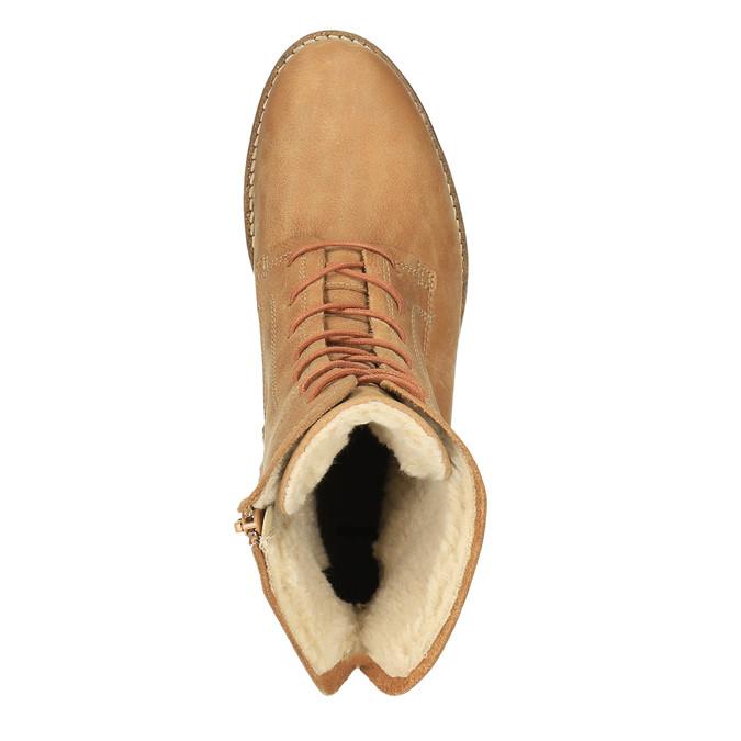 Kožená členková obuv so zateplením bata, hnedá, 596-3610 - 19