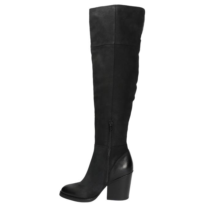 Kožené čižmy nad kolená na masívnom podpätku bata, čierna, 696-6611 - 19