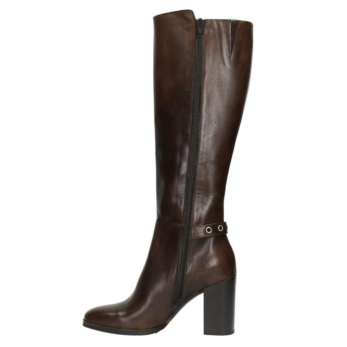 Kožené čižmy na podpätku bata, hnedá, 794-4637 - 26