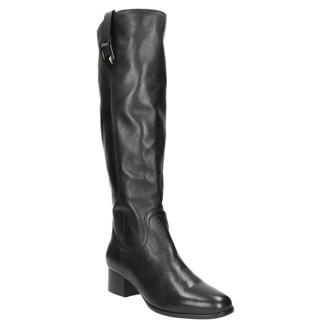 Dámské kožené čižmy na nízkom podpätku bata, čierna, 694-6631 - 13