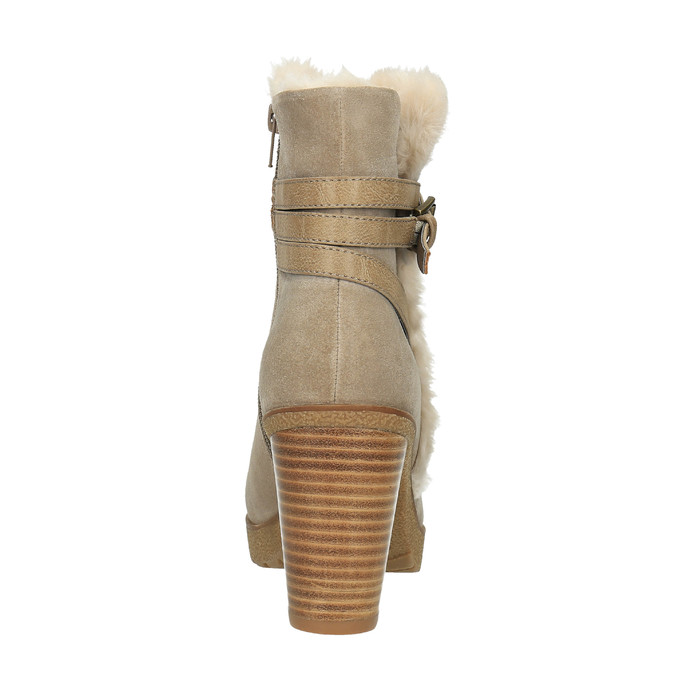 Členková obuv s kožúškom bata, šedá, 793-2600 - 17