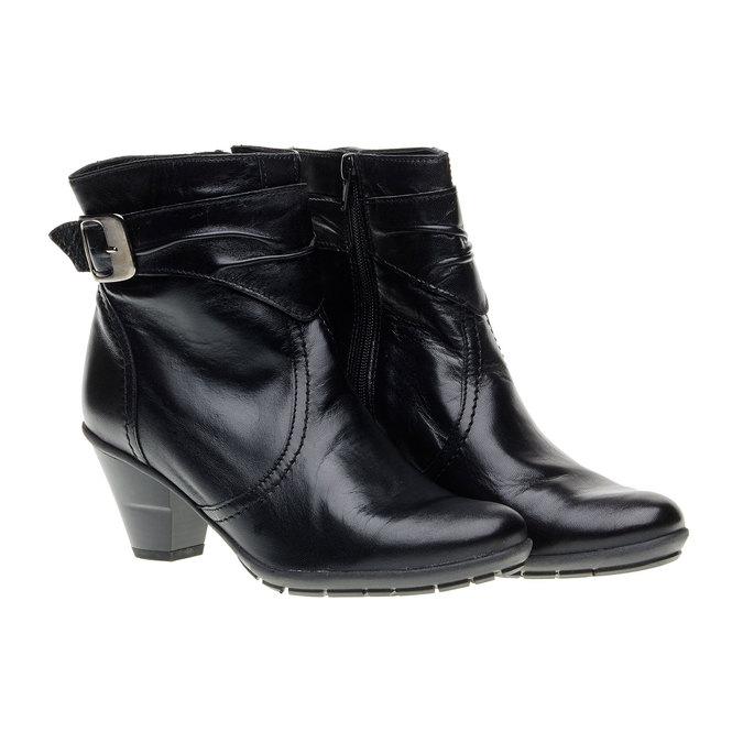 Kožená členková obuv na skosenom podpätku bata, čierna, 694-6130 - 26