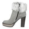 Kožená členková obuv s pravým kožuškom manas, šedá, 793-2603 - 19