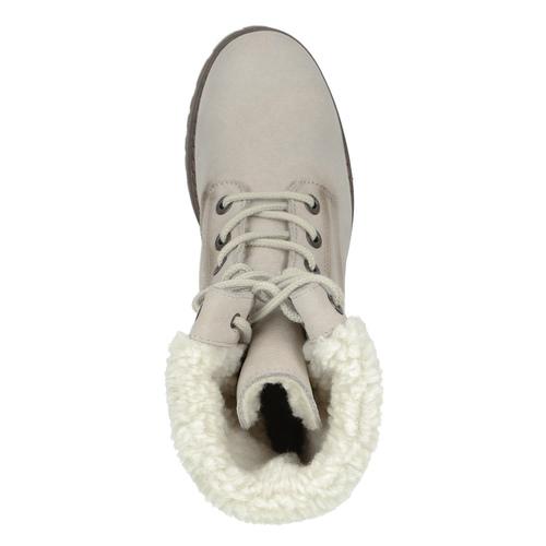 Kožená zimná obuv s kožúškom bata, béžová, 696-3336 - 17