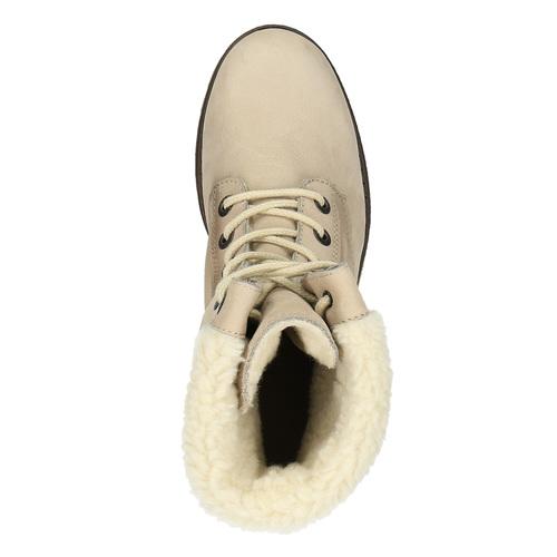 Kožená zimná obuv s kožúškom bata, béžová, 696-3336 - 19
