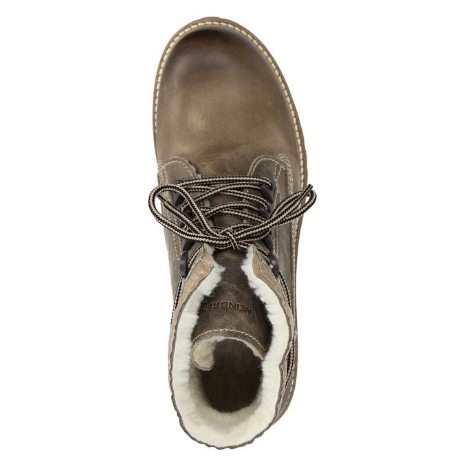 Kožená zimná obuv s kožúškom weinbrenner, šedá, 594-2491 - 15