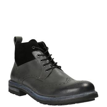 Kožená členková obuv s Brogue zdobením bata, šedá, 896-2646 - 13