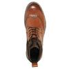 Kožená členková obuv s Brogue zdobením bata, hnedá, 896-3646 - 19