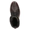 Kožená zimná obuv s károvaným detailom bata, hnedá, 896-4650 - 19