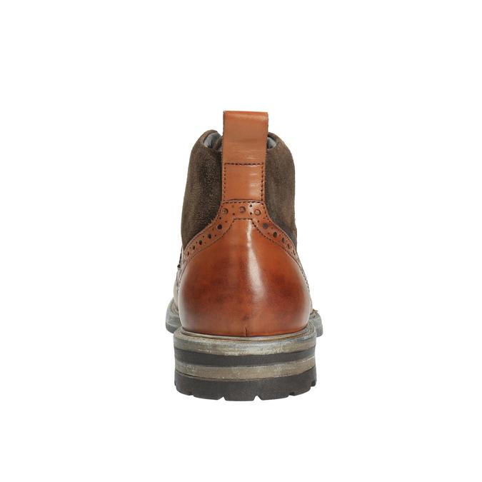 Kožená členková obuv s Brogue zdobením bata, hnedá, 896-3646 - 17