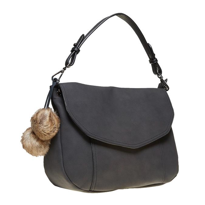 Dámska kabelka s Pom Pom ozdobou bata, čierna, 961-6244 - 13