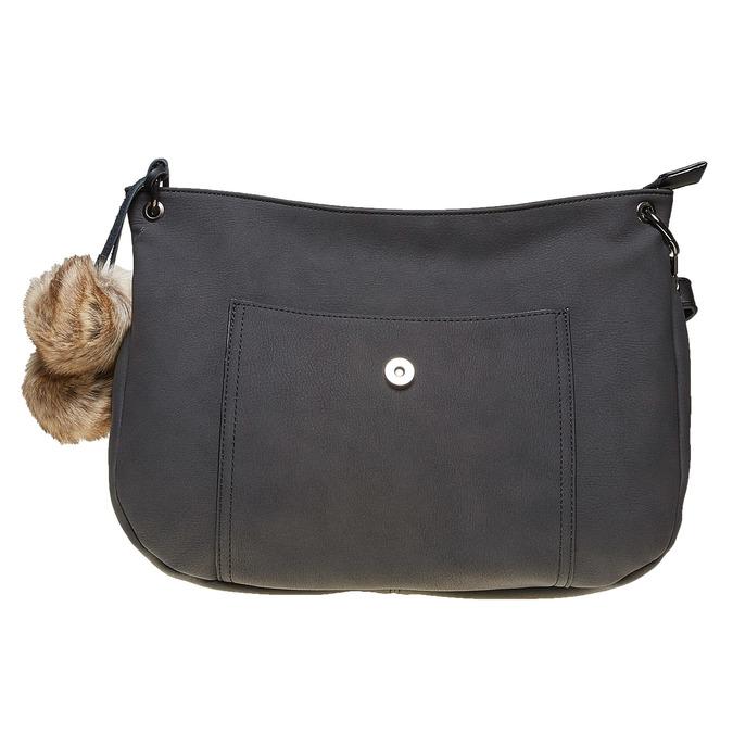 Dámska kabelka s Pom Pom ozdobou bata, čierna, 961-6244 - 26