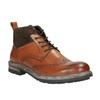 Kožená členková obuv s Brogue zdobením bata, hnedá, 896-3646 - 13