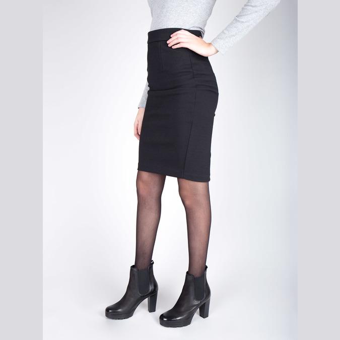 Kožená členková obuv na vysokom podpätku bata, čierna, 796-6604 - 18