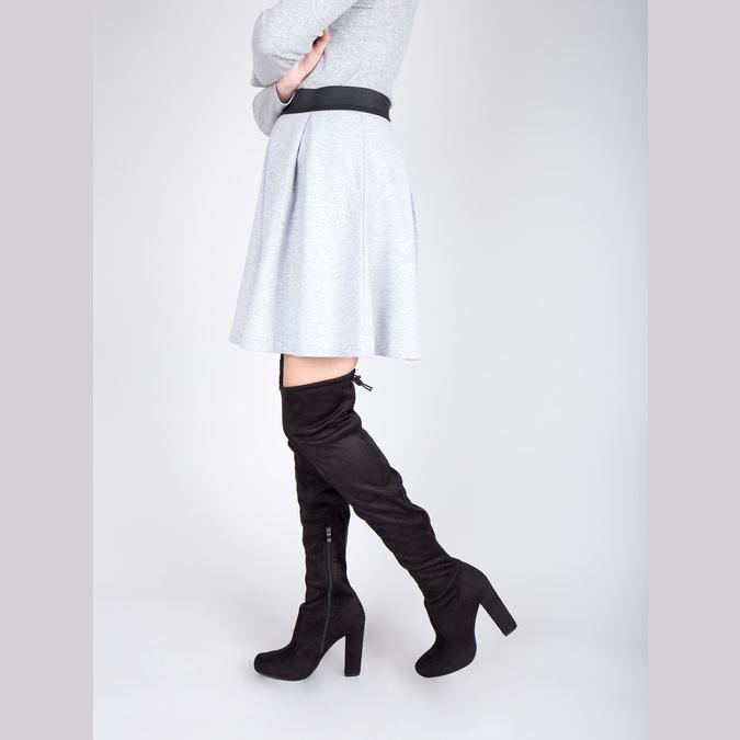 Čižmy nad kolená na podpätku bata, čierna, 799-6605 - 18