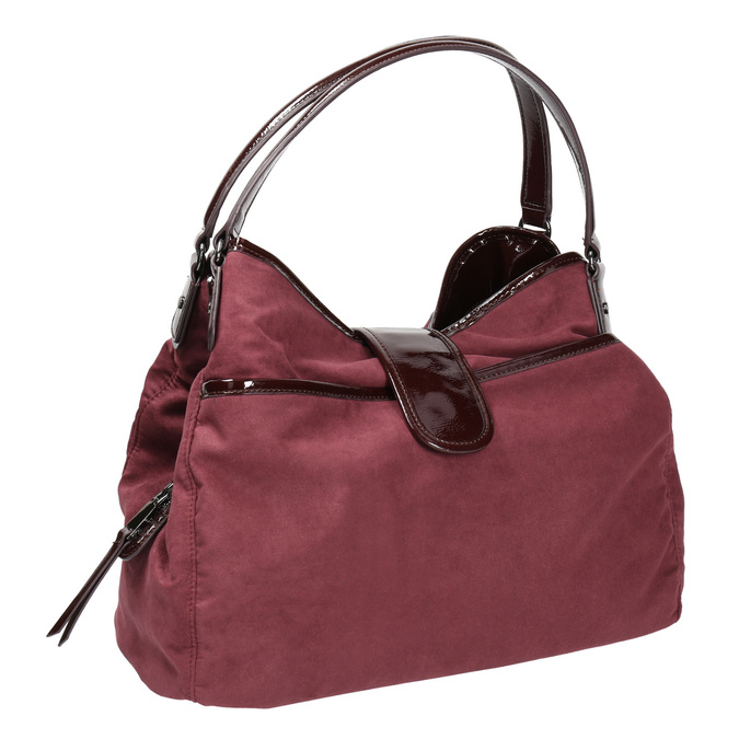 Vínová kabelka s lakovanými detailami bata, ružová, 969-5209 - 13