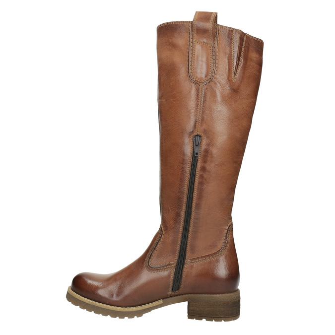 Hnedé kožené čižmy bata, hnedá, 594-4613 - 19