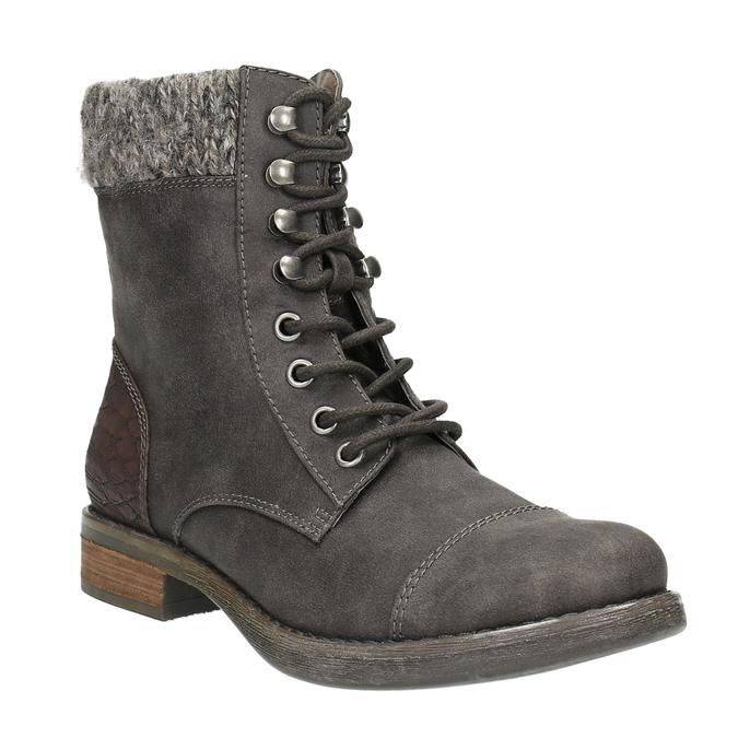 Dámska šnurovacia zimná obuv bata, šedá, 591-6606 - 13