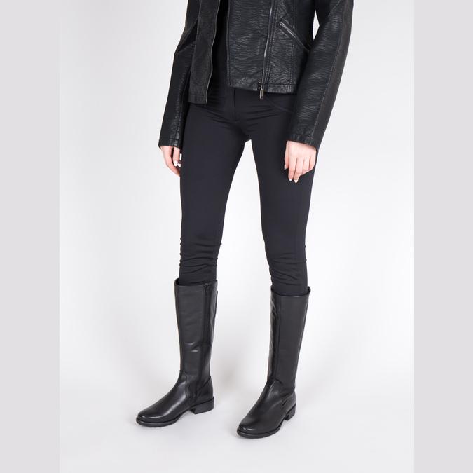 Čierne kožené čižmy šírky H bata, čierna, 596-6611 - 18