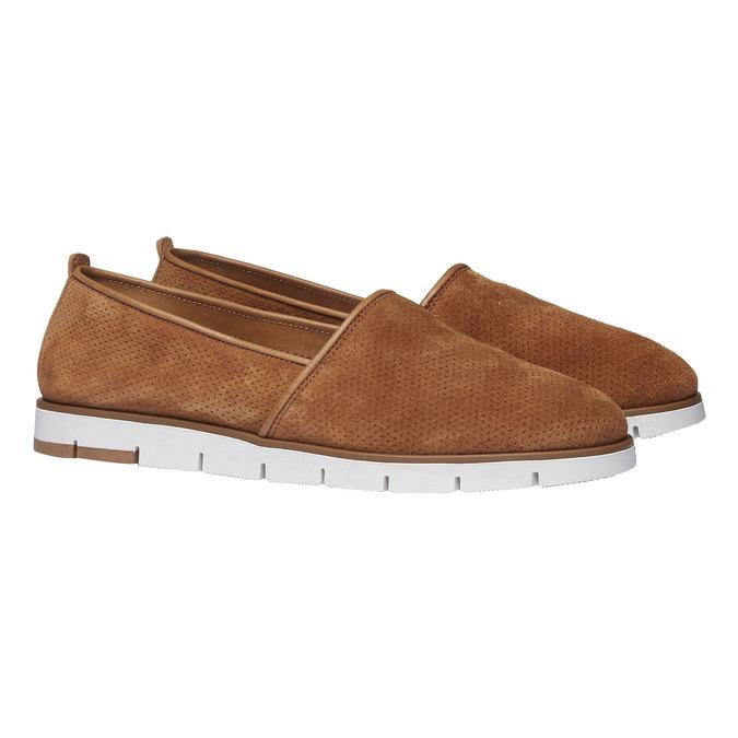 Kožené Slip-on topánky s perforáciou flexible, hnedá, 513-3200 - 26