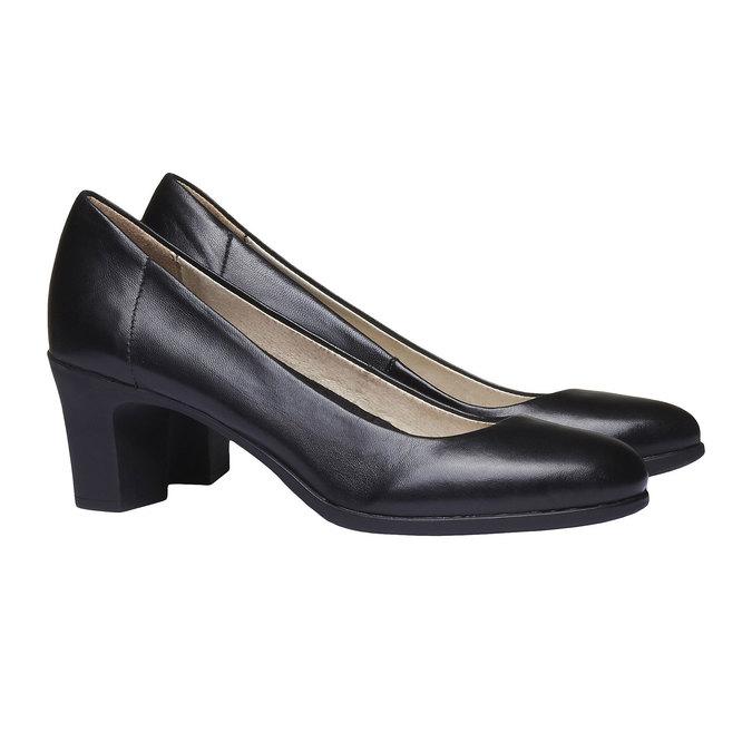 Čierne kožené lodičky flexible, čierna, 624-6393 - 26