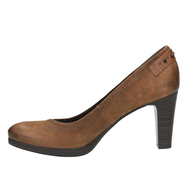 Dámske lodičky na širšom podpätku bata, hnedá, 626-4602 - 26