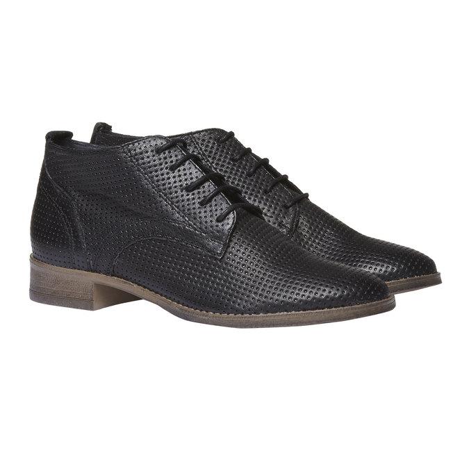 Dámske kožené členkové topánky bata, čierna, 524-6468 - 26