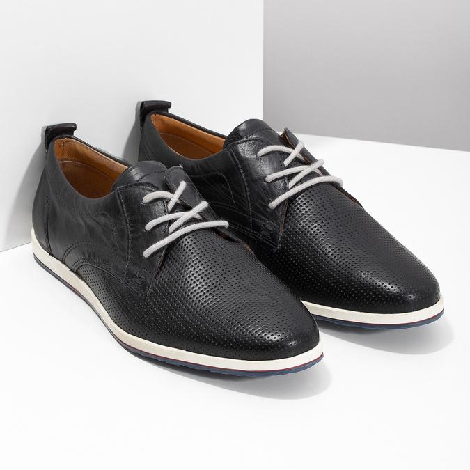Ležérne kožené poltopánky bata, čierna, 824-9124 - 26