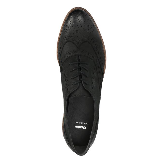 Dámske kožené poltopánky bata, čierna, 526-6600 - 19